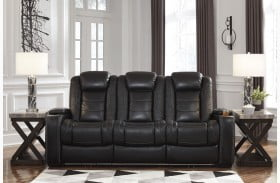 Party Time Midnight Power Reclining Sofa with Adjustable Headrest