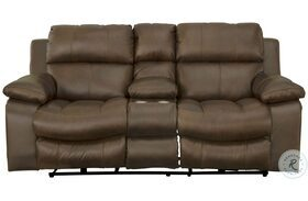 Positano Cocoa Reclining Console Loveseat With Storage