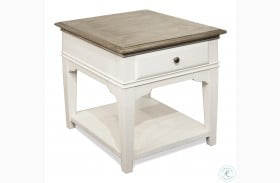 Myra Natural And Paperwhite Leg End Table
