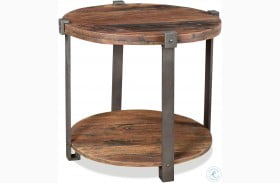 Quinton Patina Wood Round End Table