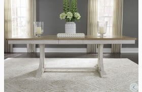 Farmhouse Reimagined Antique White Extendable Trestle Dining Table
