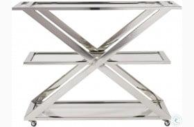 Modern Draper Chrome Bar Cart