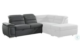 Platina Gray LAF Loveseat With Pull Out Bed and Adjustable Headrests