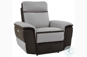 Laertes Two Tones Gray Leather Power Reclining Chair