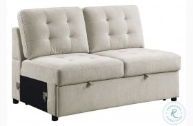 Logansport Beige Armless Loveseat With Pull Out Bed
