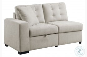 Logansport Beige LAF Loveseat With Pull Out Ottoman