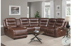 Putnam Brown 6 Piece Modular Power Reclining Sectional With LAF Chaise