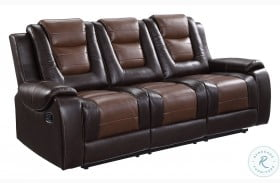 Briscoe Light And Dark Brown Double Reclining Sofa