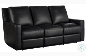 Curated Carter Hudson Jet Black Leather Power Reclining Sofa