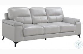 Mischa Silver Gray Leather Sofa