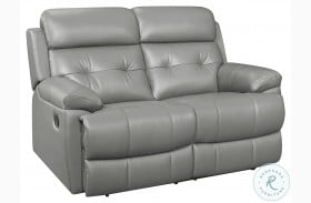 Lambent Gray Leather Double Reclining Loveseat