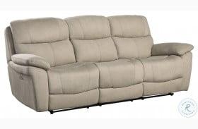 Longvale Tan Power Double Reclining Sofa With Power Headrest