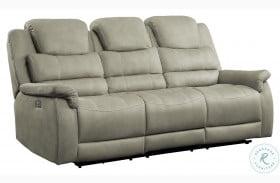 Shola Gray Power Double Reclining Sofa With Power Headrests