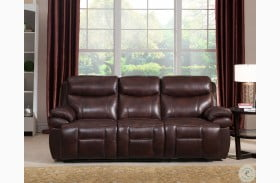 Summerlands II Brown Leather Adjustable Headrest Power Reclining Sofa with Dropdown Table
