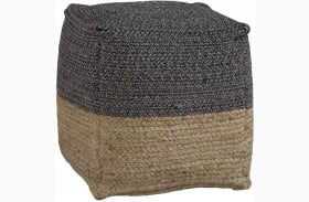 Sweed Valley Natural And Black Square Pouf
