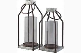Diedrick Gray And Black Lantern Set of 2