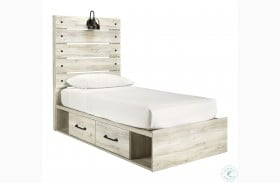 Cambeck Whitewash Youth Panel Bed with Underbed Storage