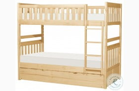 Bartly Natural Pine Twin Over Twin Bunk Bed with Trundle