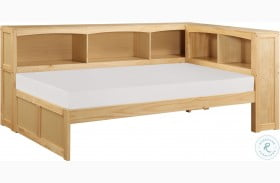 Bartly Natural Pine Twin Bookcase Corner Bed