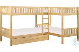 Bartly Natural Pine Twin Corner Bunk Bed With Trundle
