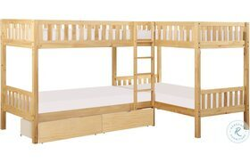 Bartly Natural Pine Twin Corner Bunk Bed With Storage Boxes