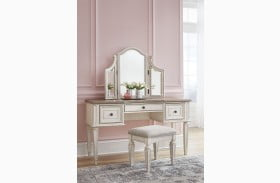 Realyn Chipped Two Tone Vanity with Mirror and Stool