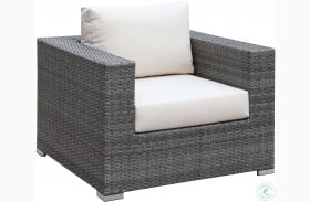Somani Gray and Ivory Outdoor Arm Chair