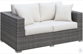 Somani Gray and Ivory Outdoor Loveseat