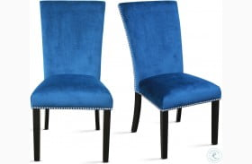 Camila Blue Velvet And Espresso Dining Chair Set Of 2
