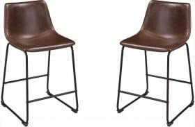 Centiar Brown and Black Upholstered Bar Stool Set of 2
