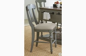 Colonnades Putty and Oak Upholstered Counter Chair Set of 2