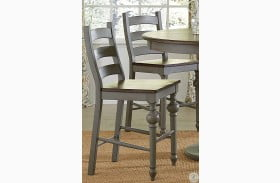 Colonnades Putty and Oak Counter Chair Set of 2