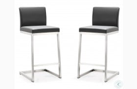 Parma Grey Stainless Steel Counter Height Stool Set of 2