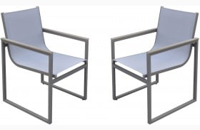 Bistro Grey Powder Coated Outdoor Patio Arms Dining Chair Set of 2