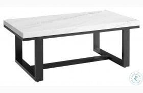 Lucca White Marble Top Cocktail Table