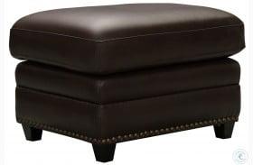 Barrington Brown Leather Brown Ottoman