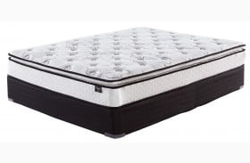 """Chime 10"""" Bonnell Pillowtop White King Size Mattress with Foundation"""