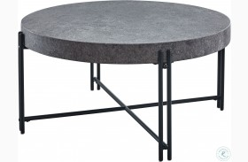 Morgan Mottled Grey And Black Round Cocktail Table