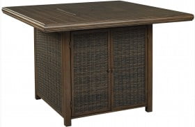 Paradise Trail Medium Brown Outdoor Square Bar Table with Fire Pit