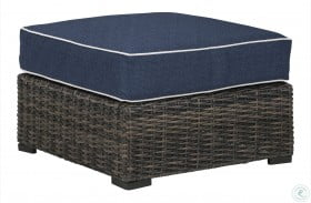 Grasson Lane Brown And Blue Outdoor Ottoman With Cushion