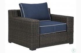 Grasson Lane Brown And Blue Outdoor Lounge Chair with Cushion