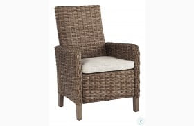 Beachcroft Beige Outdoor Arm Chair with Cushion Set of 2