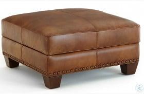 Silverado Caramel Brown Leather Ottoman