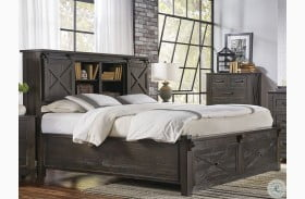 Sun Valley Charcoal Bookcase Storage Bed