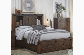 Sun Valley Rustic Timber Bookcase Storage Bed