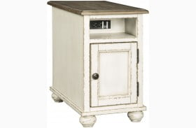 Realyn White And Brown Chairside End Table