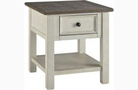 Bolanburg Antique White Weathered Gray Rectangular End Table