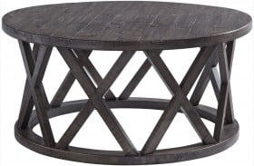 Sharzane Gray and Brown Round Cocktail Table