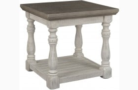 Havalance Gray and White End Table