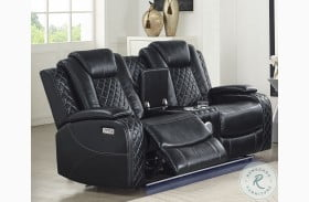 Orion Leather Reclining Console Loveseat